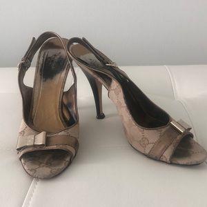 Gucci monogram sandals high heels shoes